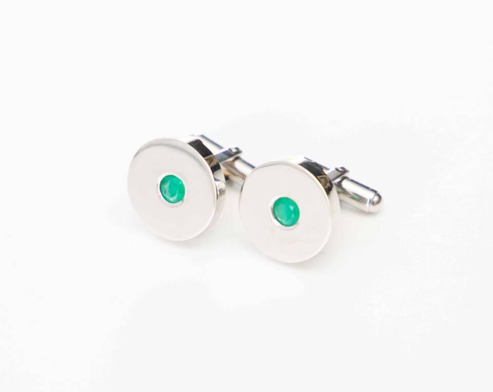 manchetknoop met jade zilver witgoud