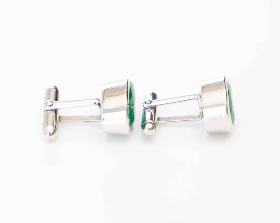 Zilver wit goud manchetknoop met Jade edelsteen