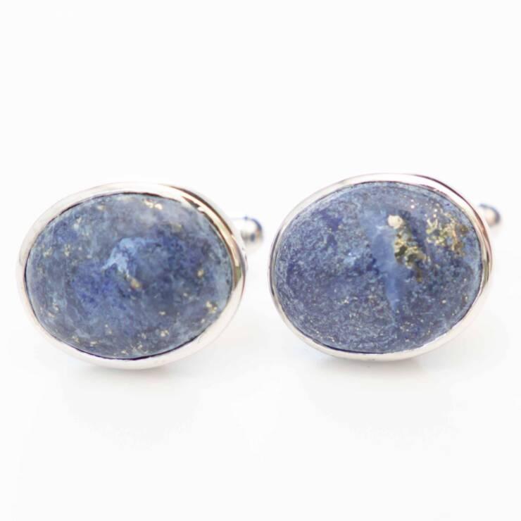manchetknoop met lapis lazuli zilver witgoud