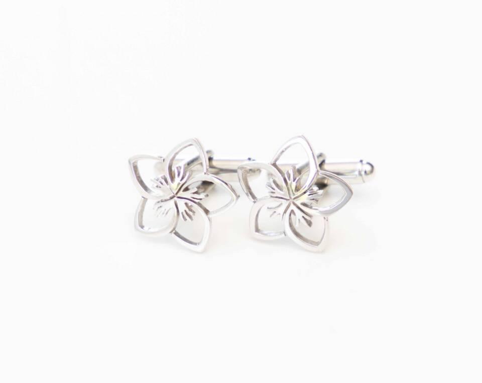 manchetknoop bloem zilver witgoud
