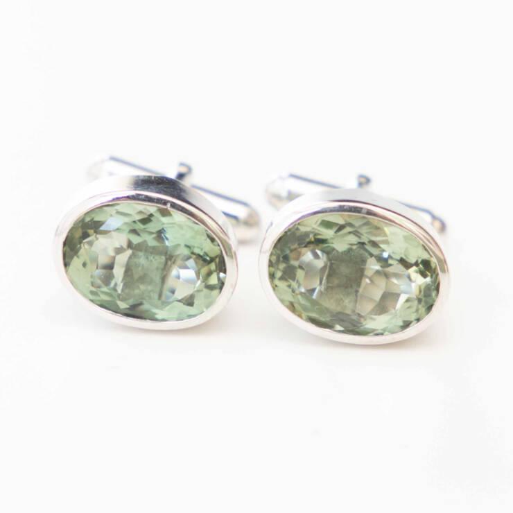 manchetknoop met groene amethist edelsteen zilver witgoud